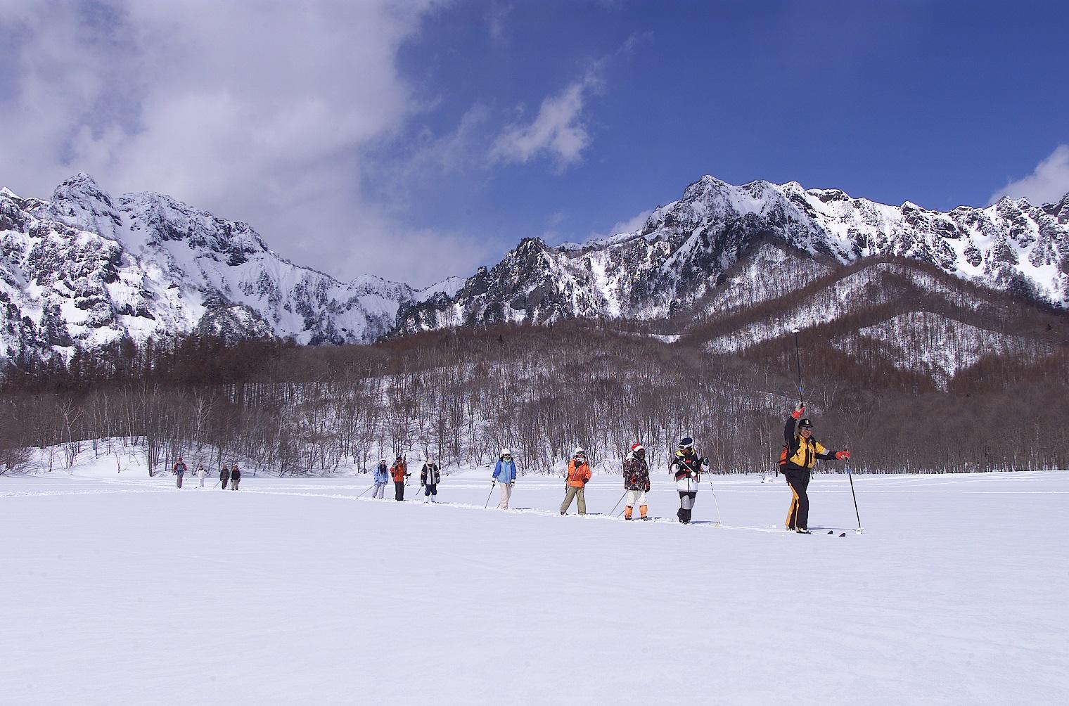 スノーシュー・クロスカントリースキーでの冬の森散歩